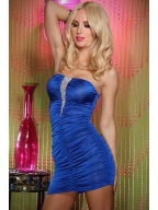 Blue Funky Strapless Dress