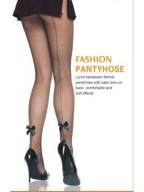 Satin Bow Seamed Fishnet Pantyhose