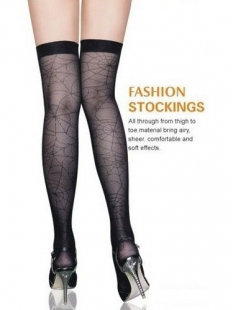 Black Spider Web Lace Stockings