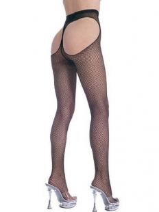 Open Front Fishnet Suspender Pantyhose