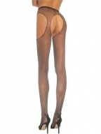 Brown Fishnet Suspender Pantyhose