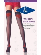 Black Lace Stockings With Red Bowknot