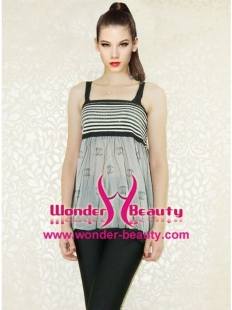 Grey Adjustable Belt Zebra Stripes Sweet top