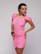 Pink Puff Sleeve Splicing Lace Ruffled Dress