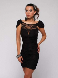 Black Puff Sleeve Splicing Lace Dress