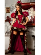 Red Leopard Puff Sleeve Costume