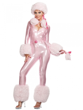 Pink Fluffy PVC Jumpsuit Costume
