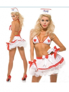 White Orange Heart Lace Nurse Costume