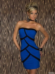 Black And Blue Splice Strapless Mini Dress
