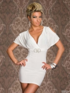 White Sleeve V-Neck Sexy Dress
