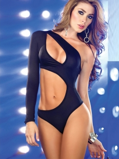 Cut Out One Sleeve Black Bra Set