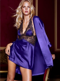 Purple Seduce Slip Satin Lace Sleepwear