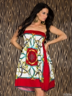 Plus Size Colorful Chain Print Sleeveless Dress Red