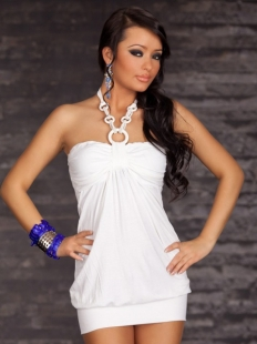 Attractive Halter Sleeveless Pure White Clubwear