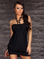 Attractive Halter Sleeveless Pure Black Clubwear