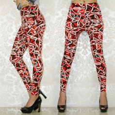 Red Irregular Figure Leggings
