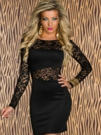 Elegant Lady Black Lace Mini Dress