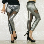 Silvery Matte Metallic Splicing Leggings