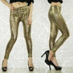 Golden Soft Foil Metallic Leggings