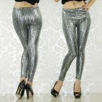 Silvery Soft Foil Metallic Leggings