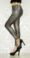 Gray Red Faux Leather Leggings