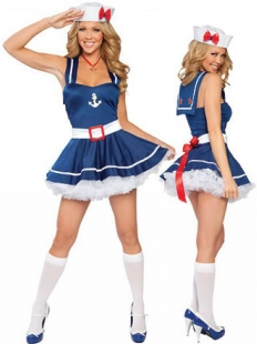 Cuty Blue And Red Bow Sailor Costume