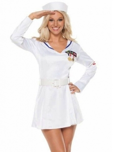 Pure White Long Sleeve Sailor Costume