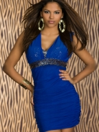 Sexy Sequin Waistband Blue Dress