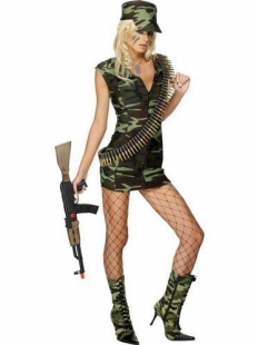 Sexy Military Front Zipper Dress Costume