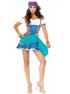 Blue Lace-up Pirate Maid Costume