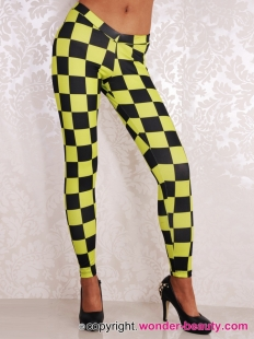 Yellow And Black Checks Leggings