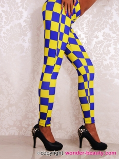 Yellow Blue Gien Check Leggings
