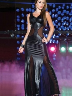 Elegant Leather And Mesh Gown
