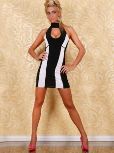 Contracted White Lines Dress