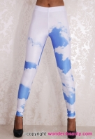 Blue Sky And White Cloud Leggings