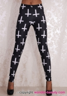 Black White Cross Leggings