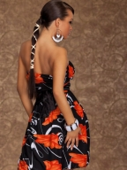 Strapless Orange Floral Dress