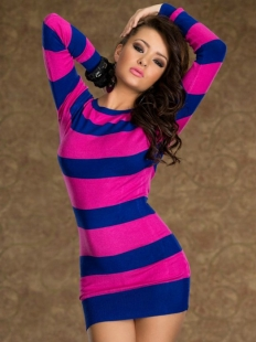 Chic Stripes Long Sleeve Sexy Dress