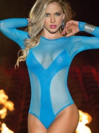 Semi-transparent Blue Net Lingerie