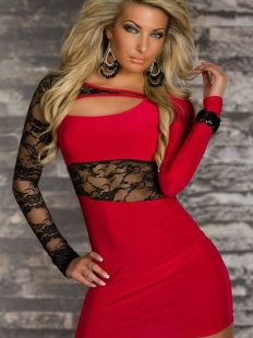 Red Lace Cut-out Dress