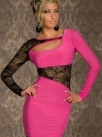 Pink Lace Cut-out Dress