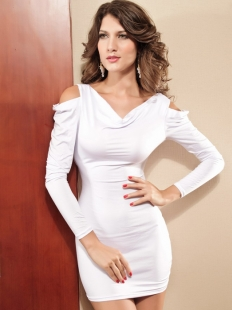 White Long Sleeves V-Neck Open Shoulder
