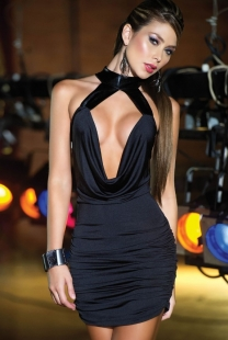 Low-cut Black Plicated Clubwear