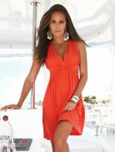 Bright Orange Ruffle V-neck Dress