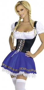 Deluxe Royalblue Sexy Beer Girl Costume