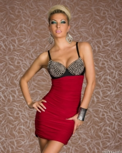 Silver Rivet Bra Red Clubwear