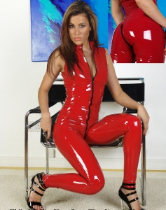 Hot Red Sleeveless Vinyl Jumpsuit
