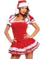 Saxy Ruffled Laced Sleeve Santa Dress