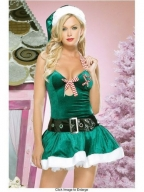 Lovely Strap Bowknot Green Chrismas Dress