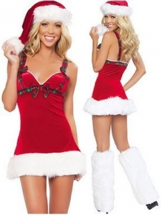 Sassy Santa Dress With Checked Bow